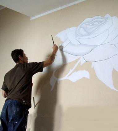 Rosa sul muro